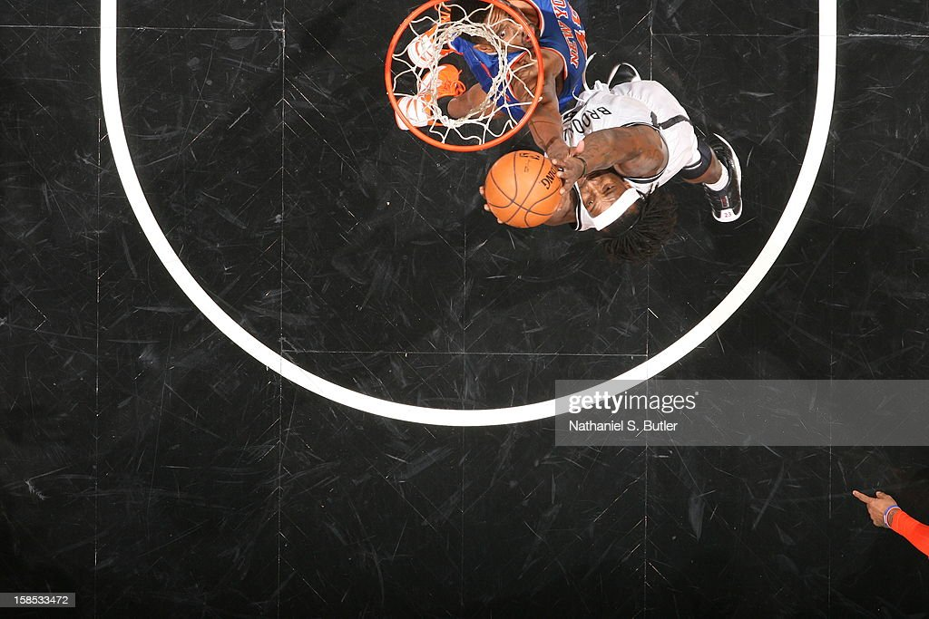 Gerald Wallace #45 of the Brooklyn Nets grabs a rebound against the New York Knicks on November 26, 2012 at the Barclays Center in the Brooklyn Borough of New York City.