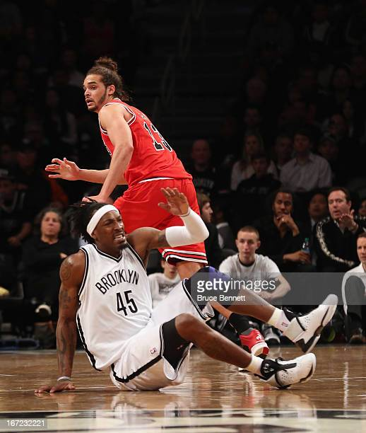 Gerald Wallace of the Brooklyn Nets is fouled by Joakim Noah of the Chicago Bulls during Game Two of the Eastern Conference Quarterfinals of the 2013...
