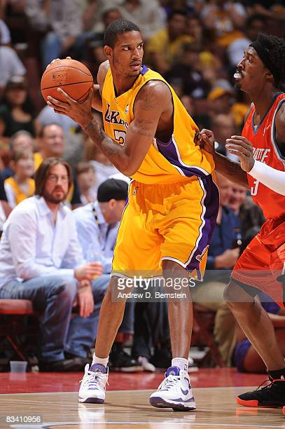 Gerald Wallace of the Charlotte Bobcats defends against Trevor Ariza of the Los Angeles Lakers during the game on October 23 2008 at Honda Center in...