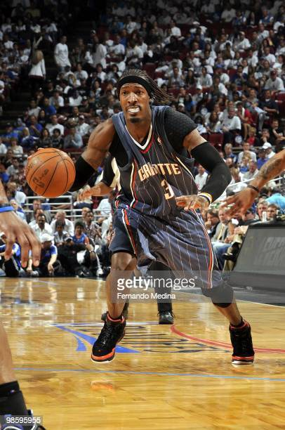 Gerald Wallace of the Charlotte Bobcats drives to the basket in Game One of the Eastern Conference Quarterfinals against the Orlando Magic during the...