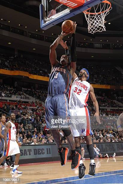 Gerald Wallace of the Charlotte Bobcats goes up for a shot attempt past Richard Hamilton of the Detroit Pistons in a game on November 5 2010 at The...