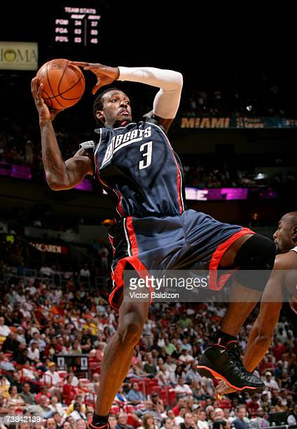 Gerald Wallace of the Charlotte Bobcats grabs a rebound against the Miami Heat on April 8 2007 at American Airlines Arena in Miami Florida NOTE TO...
