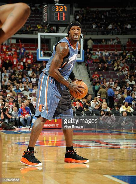Gerald Wallace of the Charlotte Bobcats handles the ball during a game against the Detroit Pistons on November 5 2010 at The Palace of Auburn Hills...