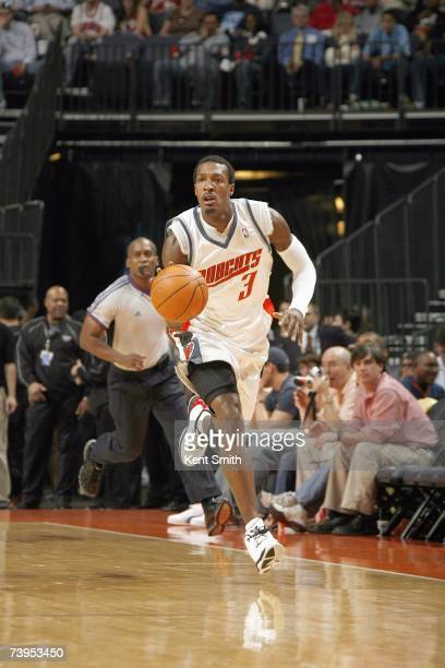 Gerald Wallace of the Charlotte Bobcats moves the ball upcourt against the New Jersey Nets at Charlotte Bobcats Arena on March 24, 2007 in Charlotte,...