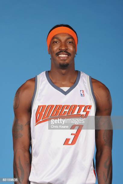 Gerald Wallace of the Charlotte Bobcats poses for a portrait during NBA Media Day on September 29 2008 at Time Warner Cable Arena in Charlotte North...