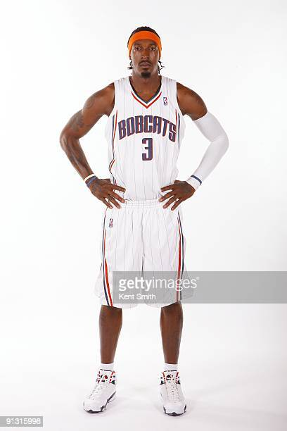 Gerald Wallace of the Charlotte Bobcats poses for a portrait during 2009 NBA Media Day at Time Warner Cable Arena on September 28 2009 in Charlotte...