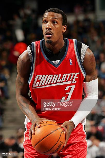 Gerald Wallace of the Charlotte Bobcats shoots a free throw during the NBA game against the Sacramento Kings at Arco Arena on February 28 2007 in...