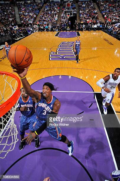 Gerald Wallace of the Charlotte Bobcats shoots the ball against the Sacramento Kings on January 25 2011 at ARCO Arena in Sacramento California NOTE...