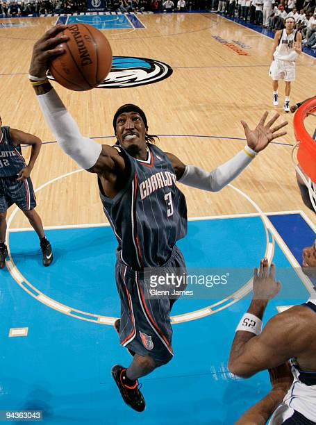 Gerald Wallace of the Charlotte Bobcats snags a rebound against the Dallas Mavericks during a game at the American Airlines Center on December 12...