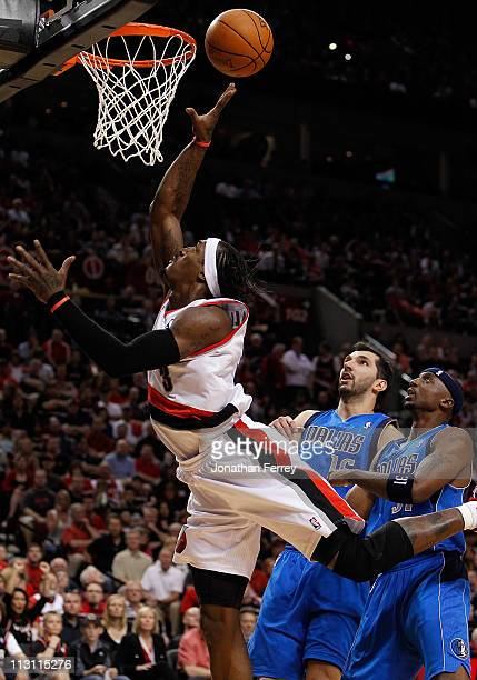 Gerald Wallace of the Portland Trail Blazers lays up the ball against the Dallas Mavericks in Game Four of the Western Conference Quarterfinals in...