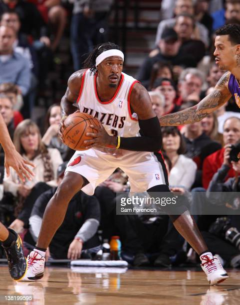 Gerald Wallace of the Portland Trail Blazers posts up against the Los Angeles Lakers during the game on January 5 2012 at the Rose Garden Arena in...