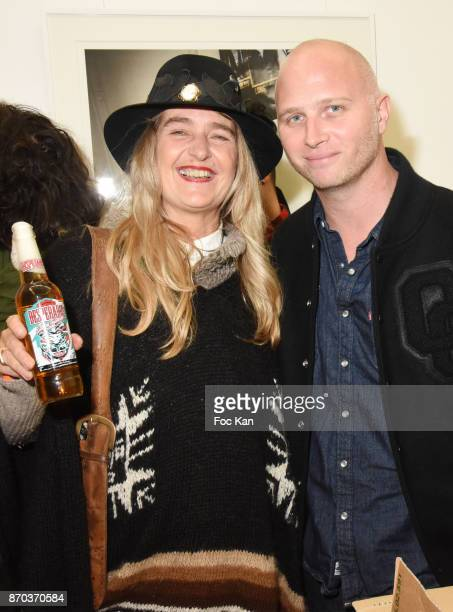 Geraldine Beigbeder and gallerist Romain Battaglia attend the Larry Clark and Jonathan Velasquez Photo Exhibition at Galerie Rue Andre Antoine...