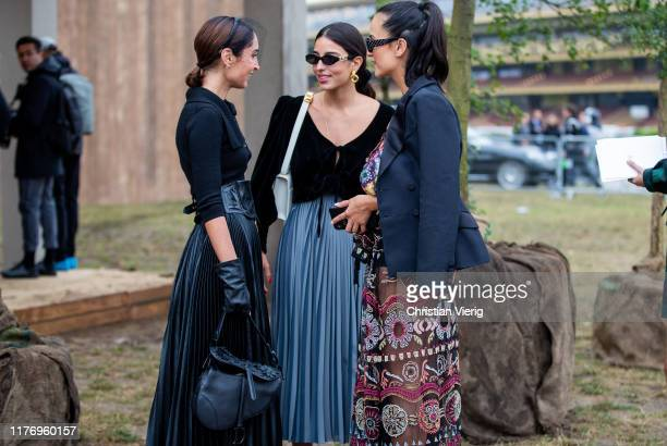 Geraldine Boublil, Bettina Looney, Anna Rosa Vitiello seen outside the Dior show during Paris Fashion Week Womenswear Spring Summer 2020 on September...