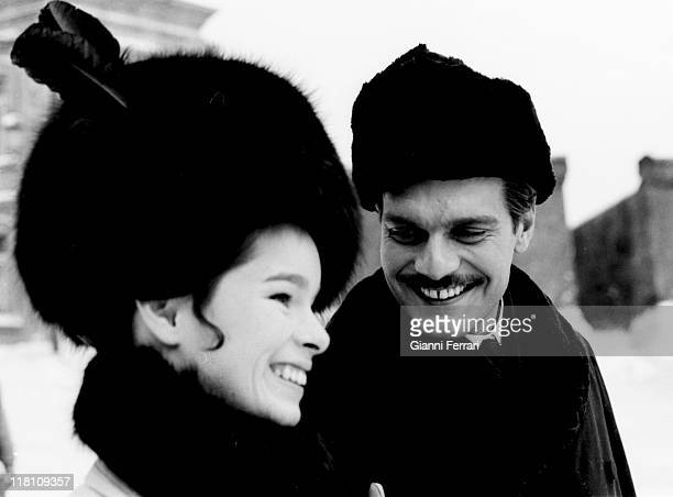 Geraldine Chaplin and Omar Sharif during the filmation of the movie 'Doctor Zhivago' directed by David Lean in Canillejas Madrid Spain