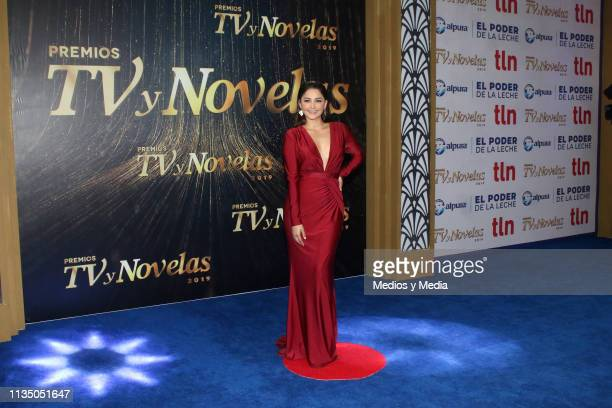 Geraldine Galván pose on the red carpet during the 'TV y Novelas' Awards 2019 at Campo Marte on March 10 2019 in Mexico City Mexico