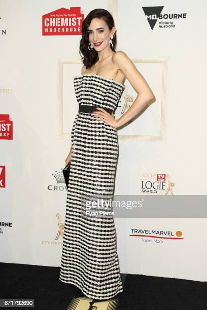 Geraldine Hakewill arrives at the 59th Annual Logie Awards at Crown Palladium on April 23 2017 in Melbourne Australia