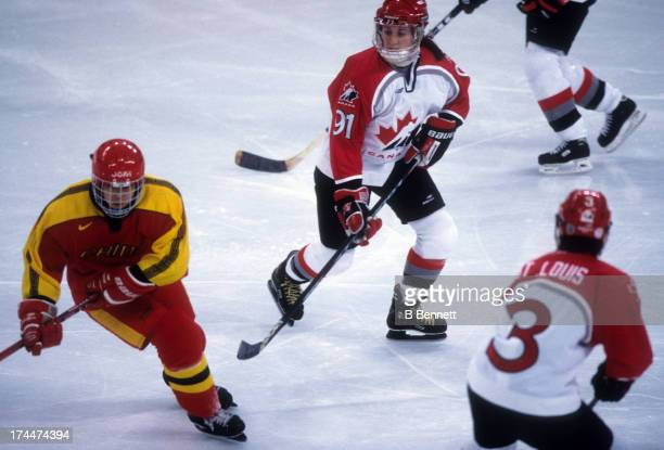 Geraldine Heaney of Team Canada skates on the ice against Team China during the 1998 Nagano Winter Olympics on February 9 1998 at the Aqua Wing in...