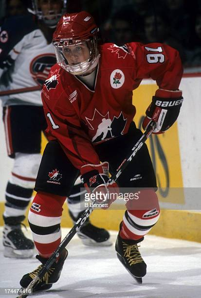 Geraldine Heaney of Team Canada skates on the ice during an exhibition game against Team USA during the NHL All-Star weekend on January 16, 1998 at...
