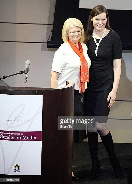 Geraldine Laybourne and Geena Davis attend Geena Davis Institute on Gender in Media Presents 2nd Symposium on Gender in Media at Skirball Cultural...