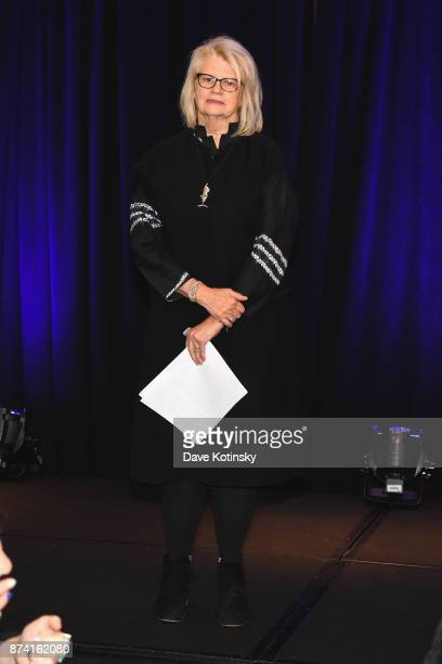 Geraldine Laybourne Media Entrepreneur and CoFounder of Oxygen Media speaks onstage at Women Who Lead presented by Alliance For Women In Media at...