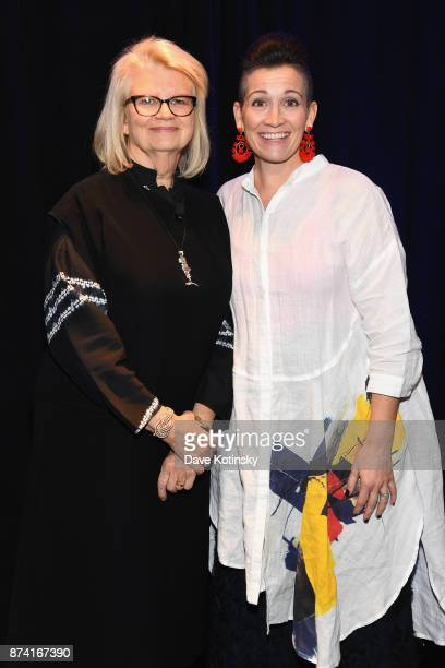 Geraldine Laybourne Media Entrepreneur and CoFounder of Oxygen Media poses with Honoree Amy Emmerich Chief Content Officer of Refinery29 onstage at...