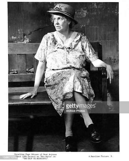 Geraldine Page sitting on bench in a scene from the film 'The Trip To Bountiful' 1985