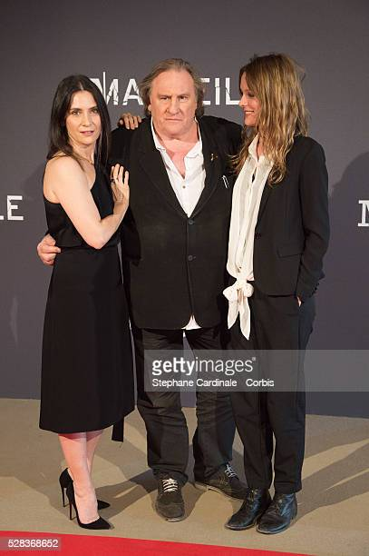 Geraldine Pailhas Gerard Depardieu Nand Stephane Caillard attend the Marseille Netflix TV Serie World Premiere At Palais Du Pharo In Marseille on May...