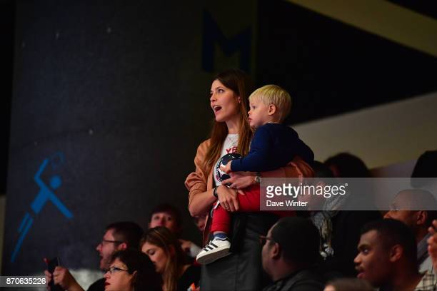 Geraldine Pillet partner of Nikola Karabatic of PSG and their son Alek during the Champions League match between Paris Saint Germain and Kielce on...