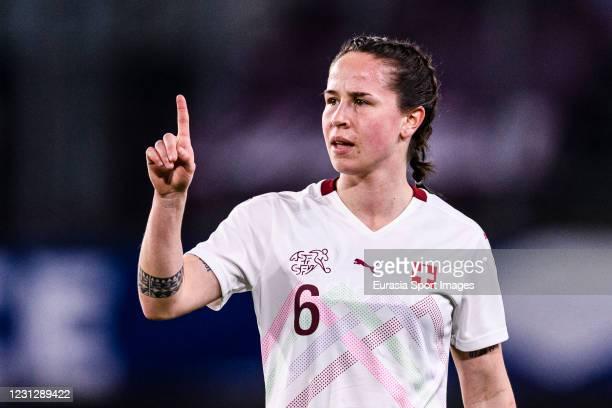 Geraldine Reuteler of Switzerland gestures during the friendly match between France and Switzerland at Saint-Symphorien Stadium on February 20, 2021...