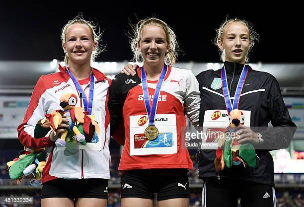 Geraldine Ruckstuhl of Switzerland gold medal Sarah Lagger of Austra silver medal and Alina Shukh of the Ukraine bronze medal celebrate on the podium...