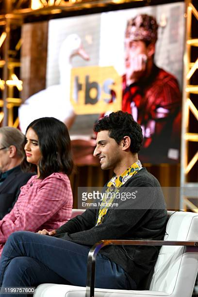 Geraldine Viswanathan and Karan Soni of 'Miracle Workers Dark Ages' appear onstage during the TBS segment of the 2020 Winter Television Critics...