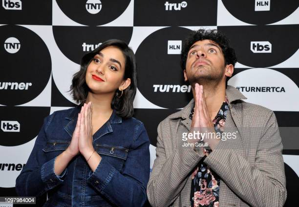 Geraldine Viswanathan and Karan Soni of the television show 'Miracle Workers' pose in the green room during the TCA Turner Winter Press Tour 2019 at...