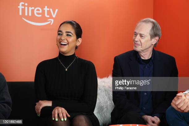 Geraldine Viswanathan and Steve Buscemi attend The Vulture Spot presented by Amazon Fire TV 2020 at The Vulture Spot on January 25 2020 in Park City...