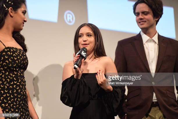 Geraldine Viswanathan Gideon Adlon and Miles Robbins attend the Blockers Premiere 2018 SXSW Conference and Festivals at Paramount Theatre on March 10...