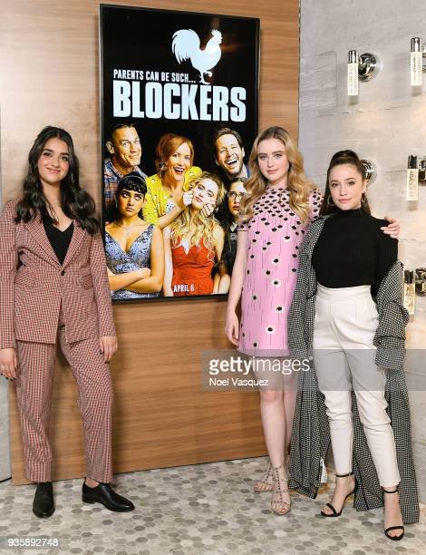 Geraldine Viswanathan Kathryn Newton and Gideon Adlon visit Extra at Universal Studios Hollywood on March 21 2018 in Universal City California