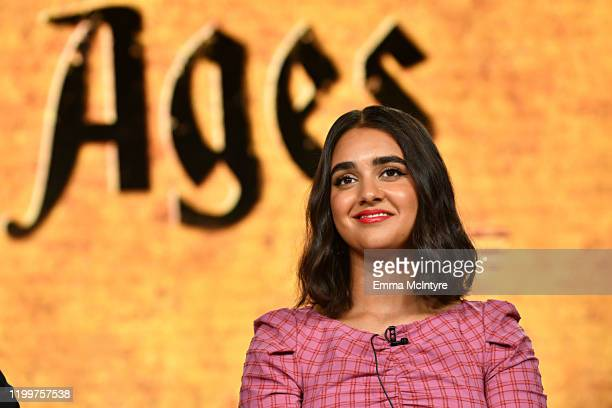 Geraldine Viswanathan of 'Miracle Workers Dark Ages' appears onstage during the TBS segment of the 2020 Winter Television Critics Association Press...