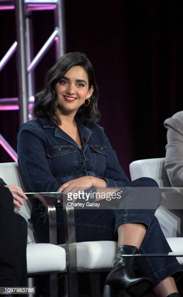 Geraldine Viswanathan of 'Miracle Workers' speaks onstage during the TBS portion of the TCA Turner Winter Press Tour 2019 Presentation at The Langham...