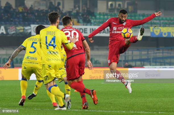 Geraldino Dos Santos GJoao Pedro of Cagliari Calcio in action during the serie A match between AC Chievo Verona and Cagliari Calcio at Stadio...