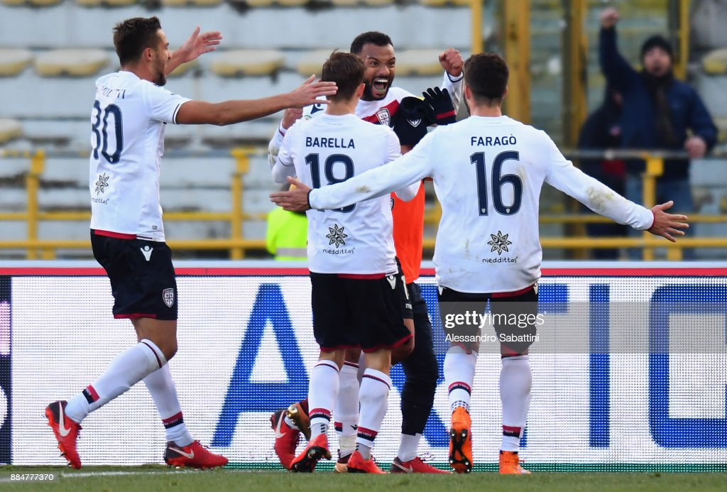 Geraldino Dos Santos G.Joao Pedro of Cagliari celebrates after scoring the opening goal during the Serie A match between Bologna FC and Cagliari Calcio at Stadio Renato Dall'Ara on December 3, 2017 in Bologna, Italy.