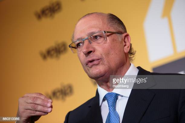 Geraldo Alckmin governor of Sao Paulo State speaks during the Veja Political Summit in Sao Paulo Brazil on Monday Nov 27 2017 Initiatives such as...