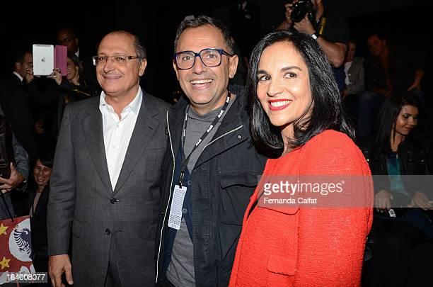 Geraldo Alckmin Paulo Borges and Lu Alckmin attend the Cavalera show during Sao Paulo Fashion Week Summer 2013/2014 on March 18 2013 in Sao Paulo...