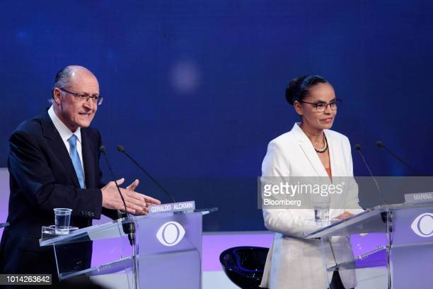 Geraldo Alckmin presidential candidate for the Brazilian Social Democracy Party left speaks as Marina Silva presidential candidate for the...