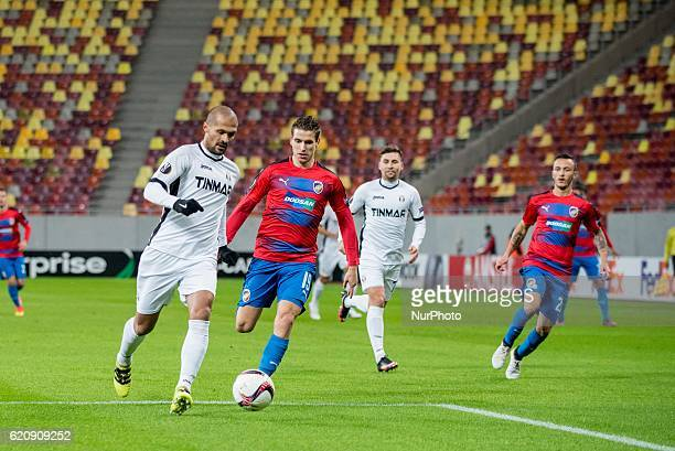 Geraldo Alves of FC Astra Giurgiu and Jan Kovarik of FC Viktoria Plzen during the UEFA Europa League 20162017 Group E game between FC Astra Giurgiu...