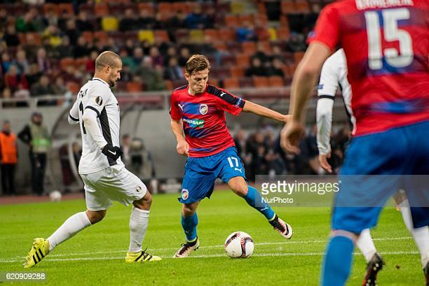 Geraldo Alves of FC Astra Giurgiu and Patrik Hrosovsky of FC Viktoria Plzen during the UEFA Europa League 20162017 Group E game between FC Astra...