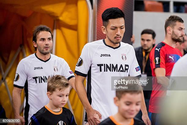 Geraldo Alves of FC Astra Giurgiu and Takayuki Seto of FC Astra Giurgiu during the UEFA Europa League 20162017 Group E game between FC Astra Giurgiu...