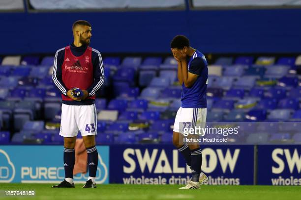 Geraldo Bajrami and Jude Bellingham of Birmingham City look dejected after the Sky Bet Championship match between Birmingham City and Derby County at...