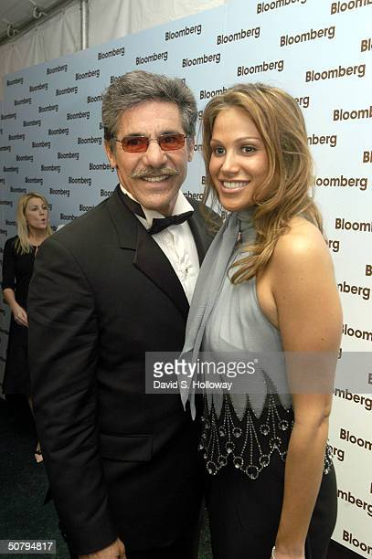 Geraldo Rivera and his new wife arrive at the Bloomberg News party after the White House Correspondants dinner on May 1 2004 in Washington DC