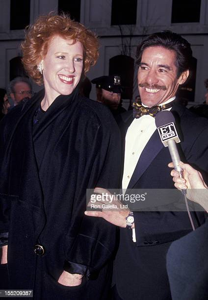 Geraldo Rivera and wife CC Dyer attend the opening of Guys and Dolls on April 14 1992 at the Martin Beck Theater in New York City