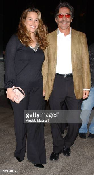 Geraldo Rivera and wife Erica Levy walk together towards a midtown restaurant October 16 2005 in New York City