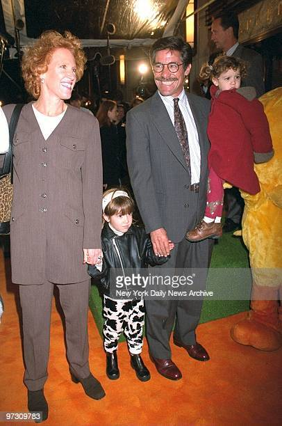 Geraldo Rivera arrives with his wife Cece and children at the newlyenlarged Warner Bros store on Fifth Ave for a party